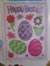 HAPPY EASTER STATIC CLING WINDOW DECORATIONS EASTER EGGS FLOWERS NIP