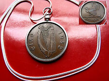 "1965 IRELAND GAELIC HAND ENGRAVED Harp Penny  on a 30"" .925 Silver Snake Chain"