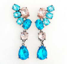 BLUE GREEN PINK CRYSTAL RHINESTONE Silver Floral Chandelier Statement Earrings