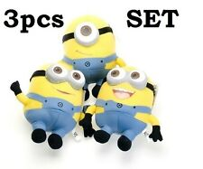 "7"" Tall Set of 3 pcs Cute Despicable Me Minion Soft Plush Stuffed Teddy Doll Toy"