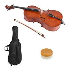 4/4 Wooden Cello Gloss Finish Basswood Face Board for Students N0J8