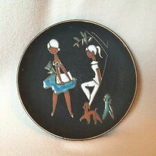 Vtg Mid Century Ruscha Wall Plate Germany Pottery Fat Lava Poodle Fashion Art