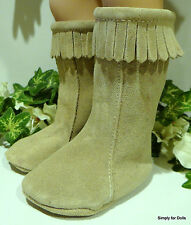 """MY TWINN Tan Suede Fringed TALL MOCCASINS BOOTS DOLL SHOES fit 23"""" Poseable Doll"""