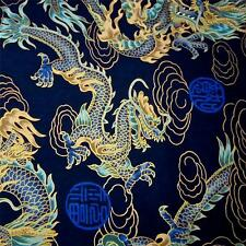 Japanese Daiwabo Cotton Fabric Per Yard, Metallic Gold & Aqua Dragons on Blue