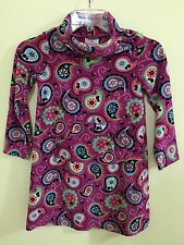 Hanna Andersson 120 Dress 7 Fleece Purple Paisley Pockets Cowl Neck