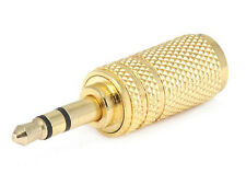 Gold 3.5mm Mono Female to 3.5mm Male Stereo Audio Adapter Headphone Converter