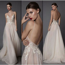 Spaghetti Strap Lace Party Prom Dress Backless Organza Pageant Evening Gown 2 4+