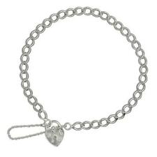 "925 Sterling Silver Charm Bracelet- Filed 7.5"" Curb Chain - Padlock Safety Chain"