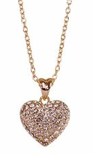 Swarovski Elements Crystal Puffed Heart Pendant Necklace 18K Gold Plated 7121y