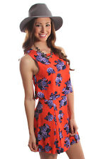 Minkpink China Nights Red Orange Blue Flower Mini Dress S 10