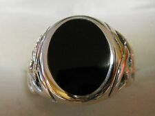 Mens  Black onyx in silver 925   oval size12 nice  ring 17mm 9.5 grams