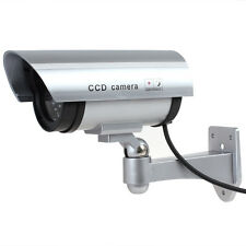 IR Bullet Fake Dummy Surveillance Security Camera CCTV with Record Light Silver