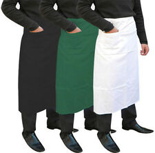 LONG WAIST APRON FOR CATERING CHEFS WAITERS BAR APRON IN CHECK STRIPE & PLAIN