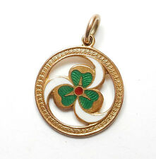 Antique George V 9ct Yellow Gold ENAMEL GIRL GUIDES CLOVER FOB MEDAL PENDANT 5g