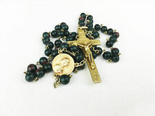 Antique Rosary Relic SIGNED GOLD WASH BLOODSTONE HELIOTROPE rare French Original