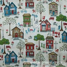 BonEful FABRIC FQ Cotton Quilt Cream Sm Country Shop Home Town City Dog Bike Cat