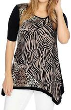 NEW Kate & Mallory® Printed Knit Elbow Sleeved Contrast Trimmed Sharkbite Top 3X