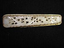 Alte CHINESISCHE Jade Silber Brosche signiert Nephrit brooch 7,5 cm China old