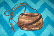 Sharif Bronze Leather Crossbody Bag Patchwork Purse Made in USA Vintage