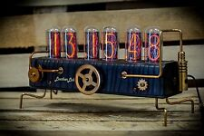 IN-18 Nixie Clock with 6 tubes Handmade Steampunk (Z568M style) LeatherLab №3