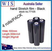 4 Rolls 500mm x 300m 25um Black Stretch Film,Stretch Wrap Hand Rolls-77105