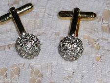 """Gorgeous """"JOSEPH ESPOSITO"""" Unisex Sterling EP Clear 10mm Ball 2 Tone Cuff Links"""