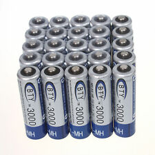 Lot of 25pcs BTY 3000mAh 1.2V AA Ni-MH High quality Rechargeable Batteries