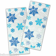 20 Christmas Frozen Frosty Blue Snowflakes Cello Plastic Party Bags & Twist Ties