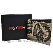 NEW Mens LEATHER Bi-Fold WALLET by Retro Sepia Dog Harley Motor Bike Gift Box