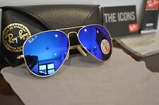 RAY BAN Aviator Polarized Sunglasses 58mm RB3025 Gold Frame Blue Flash Lens