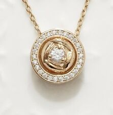 "Rose Diamond Halo Pendant Chain Necklace 14k Yellow Gold Plate Jewelry 18"" YW226"