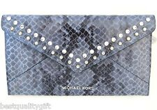 MICHAEL KORS JET SET TRAVEL DENIM BLUE LEATHER LARGE JEWEL ENVELOPE CLUTCH,BAG