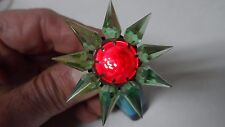 1930s C-6 Single Row MATCHLESS STAR Glass Christmas Light - GREEN w RED GEM #601
