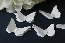 25 STUNNING WHITE 3D BUTTERFLIES WITH PEARLS, WEDDING CONFETTI, CARD TOPPERS