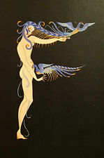 Erte 1982 Alphabet Series - F - NAKED PEACOCK LADY PLUMES Matted Print First Ed.