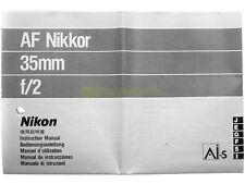 Manuale cartaceo originale per Nikon AF Nikkor 35mm. f2.