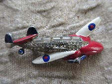 Nice Old Art Deco Airplane Cast Metal Costume Jewellery Brooch w/Stones
