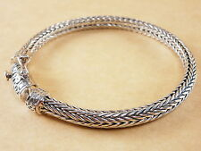 "New Woven Foxtail Wheat 925 Sterling Silver Bracelet Chain 4mm 6mm 7.75"" 33g"