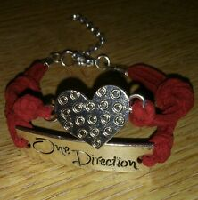 "soft leather ""One Direction. 1D "" style bracelet - red,  purple, blue or pink"