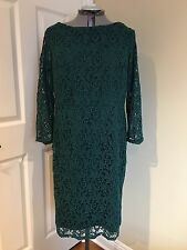 NWT TALBOTS LONG SLEEVE DARK TEAL COTTON LACE SHEATH DRESS IN SIZE 16