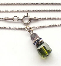 Beautiful 925 Solid Sterling Silver Bead Ball Chain Green Pendant Necklace MSCo.