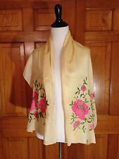 Vintage Silk EMBROIDERED Chinese Piano Shawl Scarf Manton Beige with Pink Floral