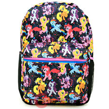 """My Little Pony 17"""" Large School Backpack Multi Characters All Over Print Bag"""