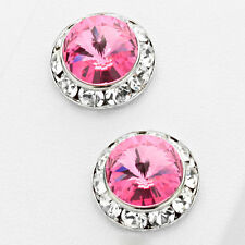 Fashion Dark Pink Rose Stud Earrings Made W Crystal Swarovski Elements 12mm 1/2""