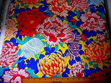 Tropical Fabric BTY By Yard Large Flowers on Bright Yellow Free Spirit Cotton