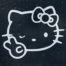 Hello Kitty Peace Funny Cartoon Car Or Laptop Decal Vinyl Sticker Colour Choice