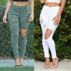 Sexy Women Denim Pants Hole Stretch Distressed Jeans Long Trousers Wash jeans