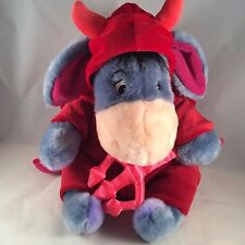 "12"" EEYORE in red devil costume HALLOWEEN Disney Store stuffed animal plush Pooh"