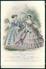 VICTORIAN antique 1858/9 Parisian Fashion Print Plate HAND COLORED couture