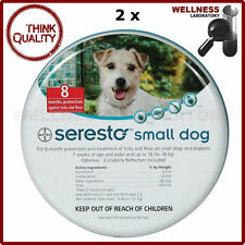 2 x Bayer Seresto Flea & Tick 8 Months Collar for Small Dogs up to 18lbs (8kg)